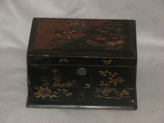 Antique Oriental Chinese Japanese Lacquer Chest Box With Gilt Bird Desig photo
