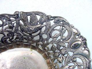 Vintage Wallace Madrilena Silverplate Pierced Bowl Bread Fruit Decorations Birds photo