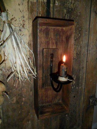 Primitive Early Look Lantern,  Farmhouse Wall Box Candle Holder,  Candle Stub photo