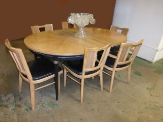 Mid Century Modern Dining Room Table & Six Cane Chairs Black Tan French Country photo