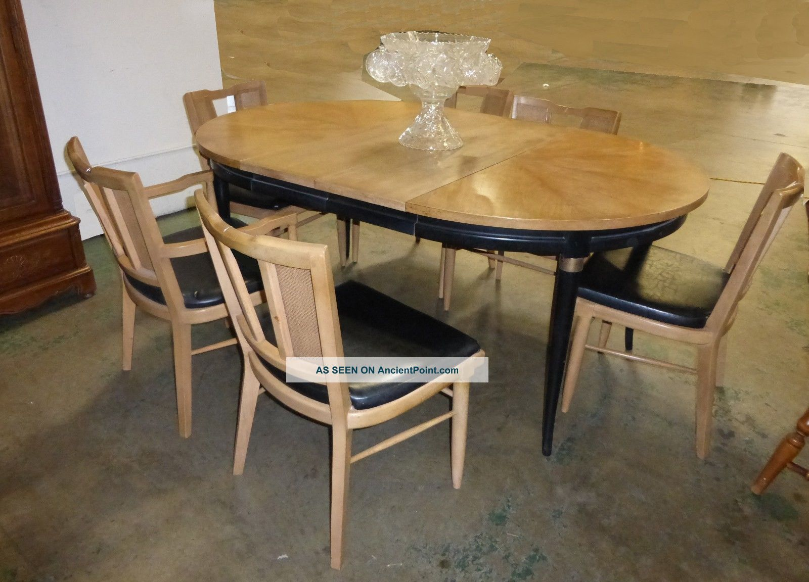mid century modern dining room table six cane chairs black tan french country