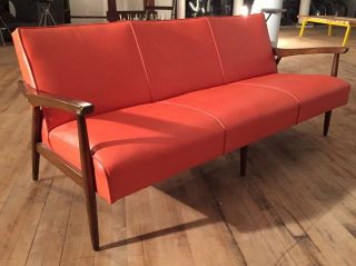 Mid Century Modern Danish Vinyl Upholstered Sofa photo