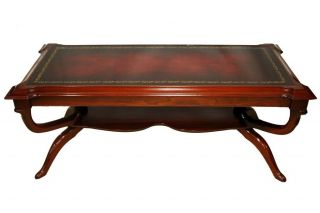 American Regency Style Mahogany Leather Top Coffee Table,  Circa 1940 ' S photo