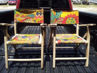 Vintage Pair Oak Wood Folding / Fold Up Child ' S Chairs For Lawn,  Beach Ext. photo
