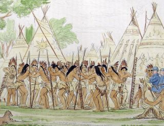 1842 Geo Catlin Handcol Eng Native American Indians 25cm Dance Of The Chiefs photo
