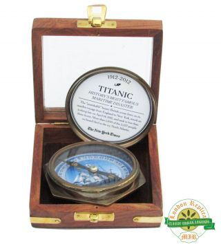 Titanic Compass 1930 ' S Old Vintage Excellently Calibrated With Wood Box Gift photo