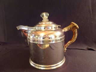 Antique Nickel Rome Metal Ware Teapot Coffee Antler Handle C.  1880 photo