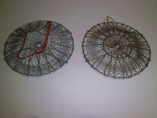 Vintage Collapsible Wire Egg Gathering Baskets Two Primitive Kitchen Garden photo