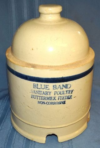 Ruckels Whitehall Il Blue Band Stoneware Chicken Feeder Crock Pottery Antique photo