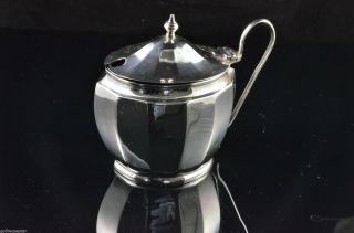 Antique Hallmarked English Sterling Silver Mustard Pot 1930 Birmingham photo