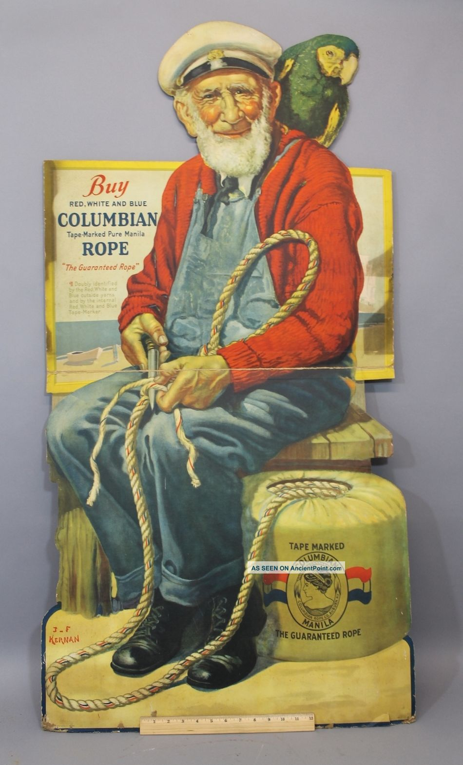 Vintage Litho Advertising Buy Columbian Rope Stand Up Folding Display Sign,  Nr Other Maritime Antiques photo