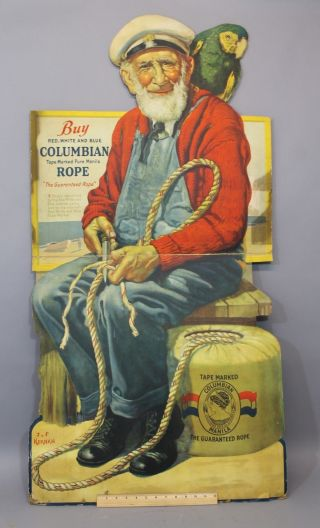 Vintage Litho Advertising Buy Columbian Rope Stand Up Folding Display Sign,  Nr photo