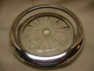 Vintage F M Whiting & Co Glass And Sterling Wine Coaster Ornate 7