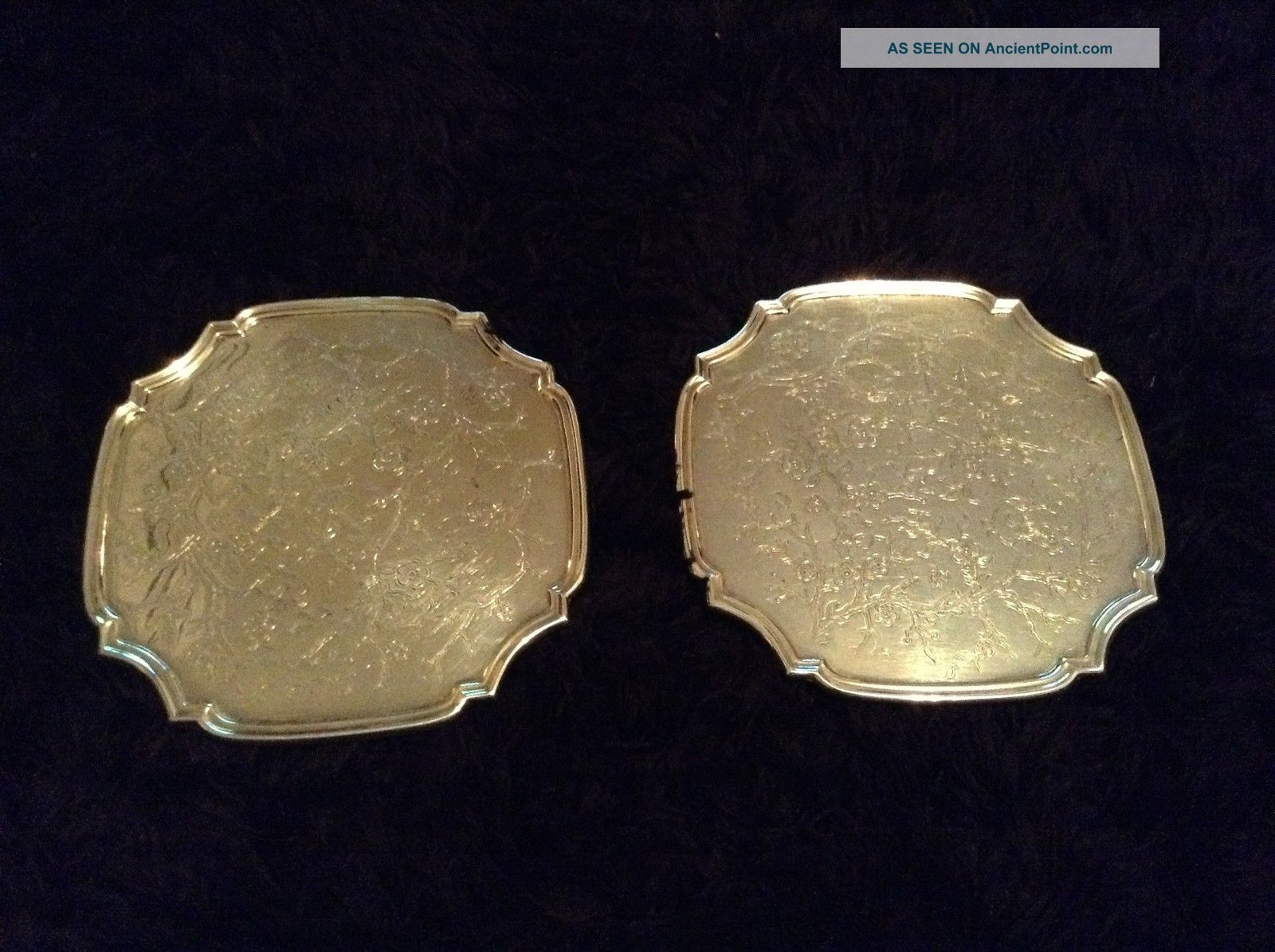 Pair Vintage Silver Plated Wine Champagne Coasters.  11cm Square. Dishes & Coasters photo
