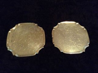 Pair Vintage Silver Plated Wine Champagne Coasters.  11cm Square. photo