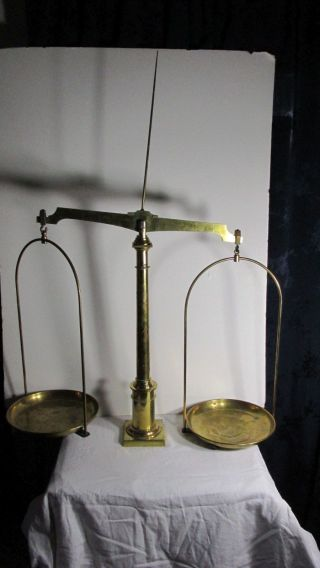 Antique Solid Brass Balance Scale Large Size All 1800,  S photo