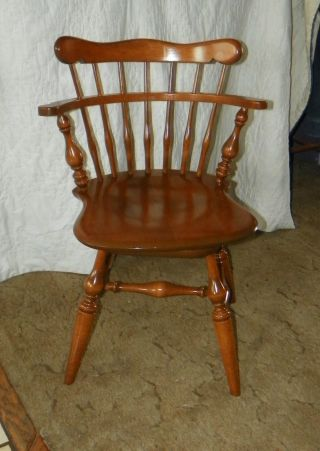 Ethan Allen Heirloom Braumritter Comb Back Swivel Mate ' S Chair - Solid Maple photo