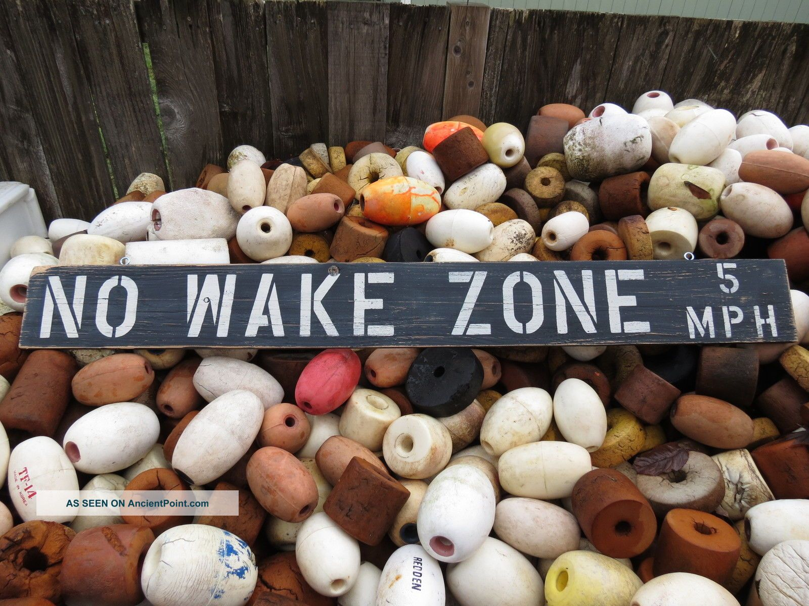 48 Inch Wood Hand Painted No Wake Zone 5mph Sign Nautical Seafood (s522) Plaques & Signs photo