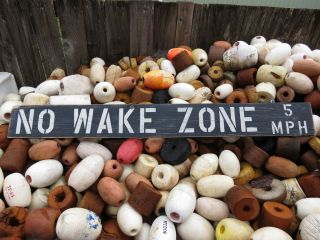 48 Inch Wood Hand Painted No Wake Zone 5mph Sign Nautical Seafood (s522) photo
