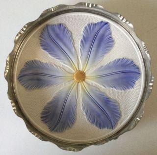 Antique Majolica Pottery/metal Tea Tile Trivet Large Blue/yellow Tulip Flower photo