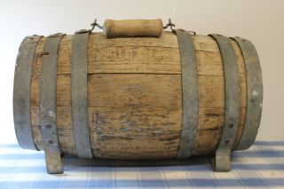 Antique Vintage Wooden Barrel 6 Bands Whiskey Water Rum Wine photo