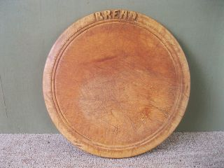 Antique Round Bread Board Vintage Primitive 11 - 1/2