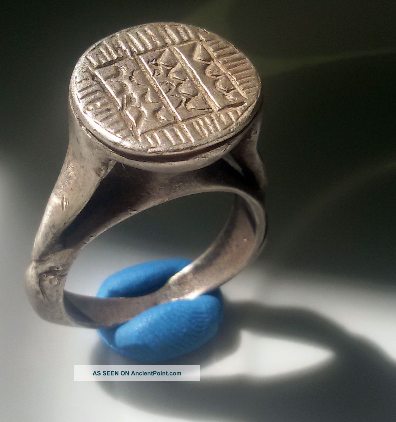 Huge Silver Ancient Byzantine Ring Engraved Stamp Ring Pythos Shape Byzantine photo