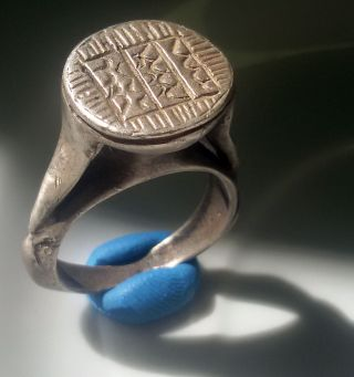Huge Silver Ancient Byzantine Ring Engraved Stamp Ring Pythos Shape photo