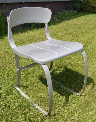 Vintage Ironrite Chair Silver Gray Metal Industrial Sperlich Mid Century Modern photo