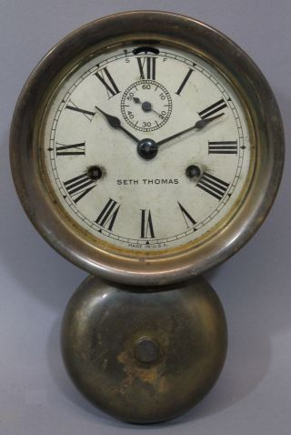 Antique 19thc Seth Thomas Brass Maritime Ships Clock W/ External Bell photo