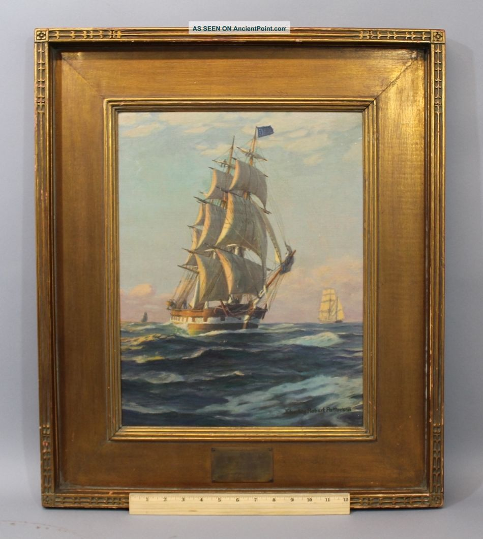 Vintage Charles Robert Patterson Clipper Ship Marine Seascape Oil Painting Other Maritime Antiques photo