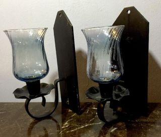 Antique Pair Cast Metal Gothic Candle Light Fixture Wall Mounts Sconces Lamps photo