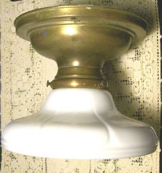 Brass Ceiling Lamp/light Fixture With Opal Glass Shade Early 1900 ' S photo