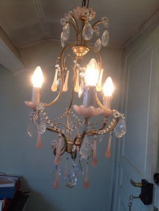 Antique Rare French Chandelier Beads Pink Opaline Drop Gilded 3 Lights 1920 photo
