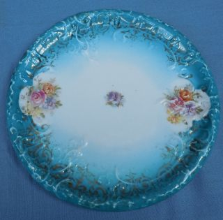Vintage Germany Round Tea Tile Trivet Porcelain Floral With Gold Trim photo