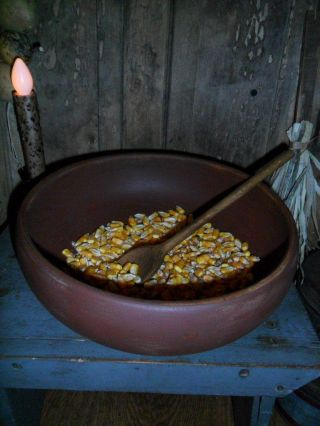 Primitive Large Wooden Bowl,  Dried Corn,  Old Wood Spoon,  Early Farmhouse Look photo