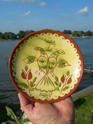 1947 Antique - Primitive Pennsylvania Folk Art Red Ware Pottery Plate Signed photo