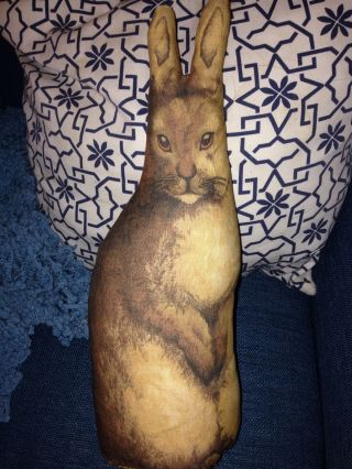 Primitive Antique Bunny Rabbit Doll 1892 Reproduction Litho Rag Doll Pillow Prim photo