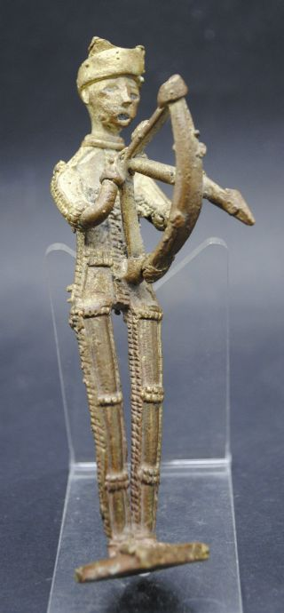 Lovely Antique Indian Bronze Figurine Of An Archer 17th - 18th Century Ad photo