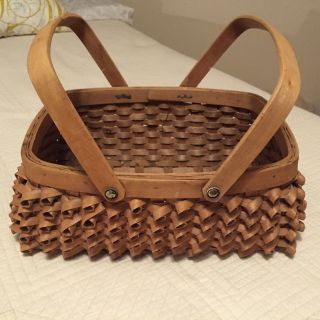 Vintage Native Penobscot Basket With 2 Swing Handles Twisted Weave photo