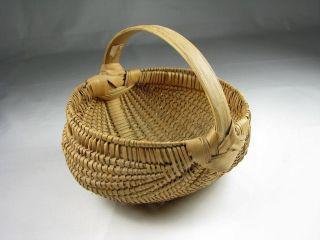 Small Antique Vtg Miniature Buttocks Basket Thin Splint Finely Woven photo