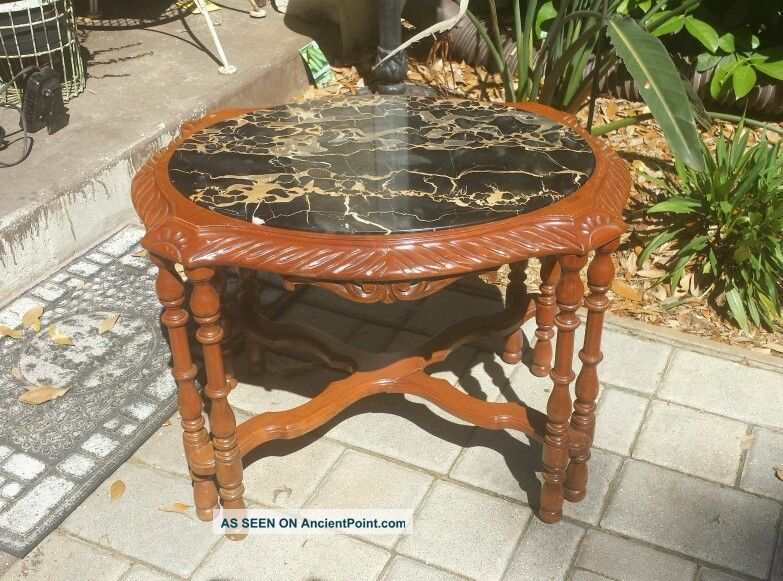 Vintage Carved Rosewood ? Cherry? Black Marble Top Federal Accent Side Table Unknown photo