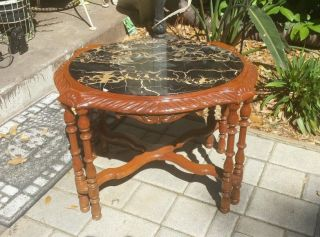 Vintage Carved Rosewood ? Cherry? Black Marble Top Federal Accent Side Table photo