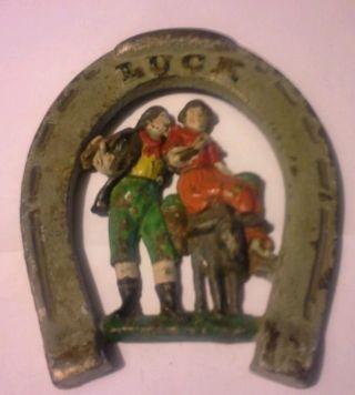 Antique Early Cast Iron Horse Shoe Design Luck 6