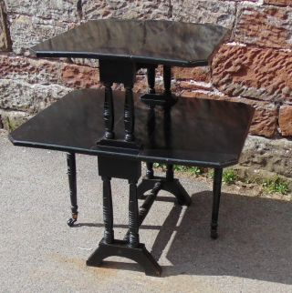 Small Wooden Vintage Sutherland Table 2 Tier Drop Leaf Gate Leg On Wheels Black photo