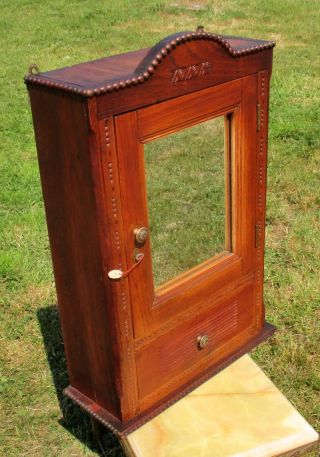 Antique Carved Wood Medicine Bathroom Wall Cabinet Mirror Apothecary Hobnails photo