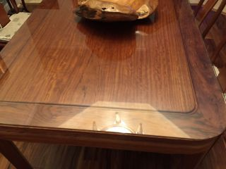 Chineese Solid Rosewood Table Natural Light Cherry - Shape W Glass Top photo