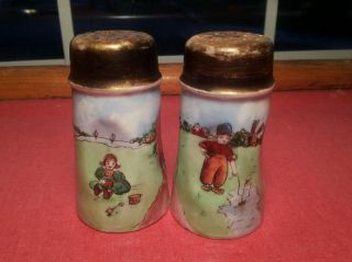 Vintage Kids Playing Salt/pepper Shakers Hand Painted Signed Favorite Bavaria photo