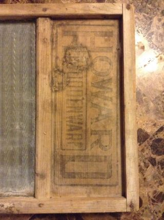 Antique Howard Woodenwarp Crown Glass & Wood Laundry Washboard.  Very Rare photo