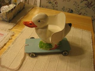 Late 1800s Early 1900s Papier Mache Duck Pull Toy With Seat So Doll Can Ride It photo